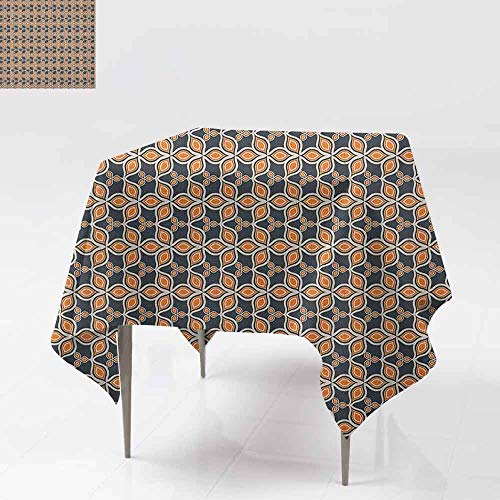 DUCKIL Washable Table Cloth Old Fashioned Autumn Leaves Linked Forming A Mosaic Unusual Harvest Classic Motif Indoor Outdoor Camping Picnic W63 xL63 Multicolor