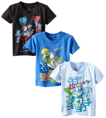 Disney Little Boys' Toddler Toy Story 3 Pack T-Shirts, Multi, 4T -