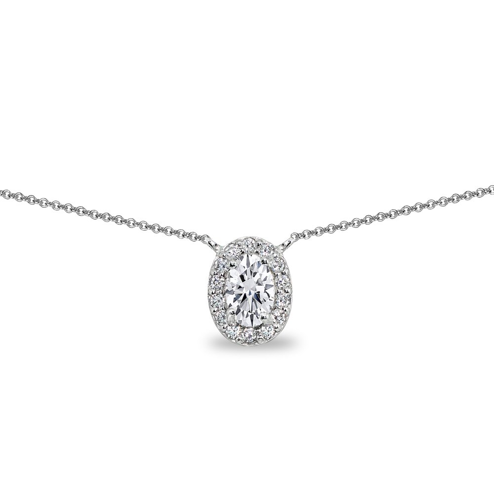 Sterling Silver Cubic Zirconia Oval Halo Choker Necklace