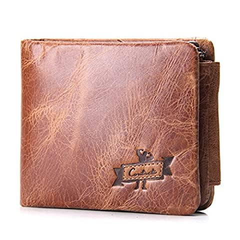 Contacts Men's Genuine Leather Cowhide Trifold