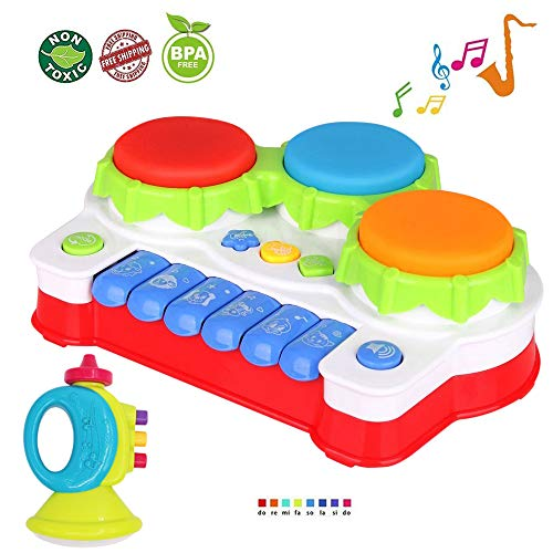 LUKAT Baby Toys for 1 Year Old Toddler, Piano and Drum Musical Instruments Toys for 6, 12 Months Infant