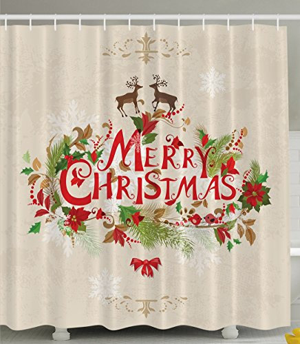 Merry Christmas Reindeer Holiday New Year Print Polyester Fabric Shower Curtain, Beige Brown Red Green Christmas Wishes Quotes For Best Friends