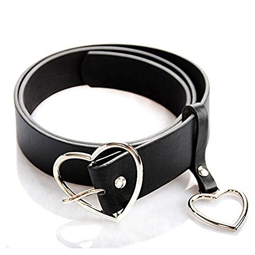 TXIN Heart-shaped Wide Black Belt with Silver Metal Buckle for Women Girls Students Jeans Shorts Ladies Dress