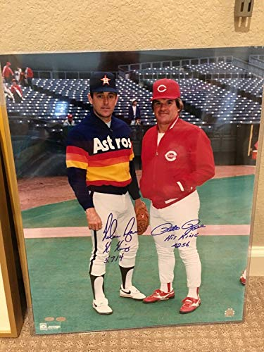 Nolan Ryan Pete Rose Autographed Signed 16x20 Photo Autograph Auto Mounted Memories MLB - Certified Signature