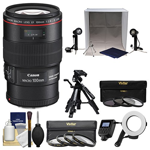 Canon EF 100mm f/2.8 L is Macro USM Lens with Ring Light + T