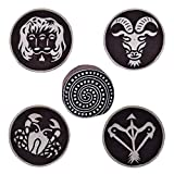 Wooden Printing Block Zodiac Sign and Spiral Textile Stamps Clay Project Scrapbook Art Craft Pottery Blocks Set of 5