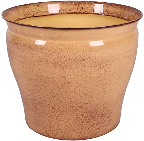Robert Allen MPT01979 Avery Classic Ironstone Metal Planter Flower Pot, 16