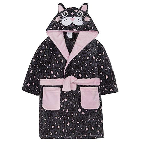 Metzuyan Girls Plush Fleece Cat Dressing Gown with Hood