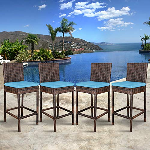 Cheap SUPER DEAL Outdoor Upgraded All Weather Wicker Bar Stools with Cushions, Patio Furniture Bar Stool (Set of 4)