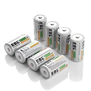 EBL Pack of 8 10,000mAh Ni-MH D Cells Rechargeable Batteries