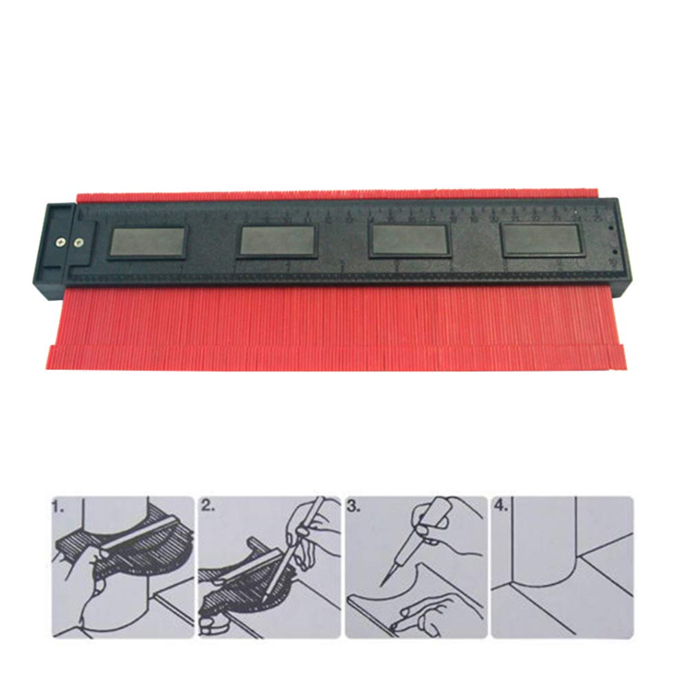 dezirZJjx Profile Contour Gauge, 250 mm Ruler Scale Contour Curvature Model,Caliber Laminate Carpet Tiles of Wood Measuring Profile Ruler Red