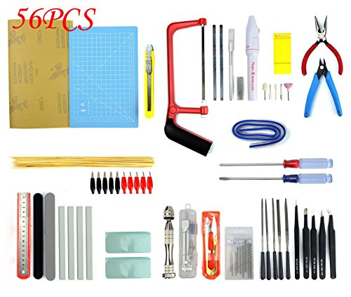 - BXQINLENX Professional 56 PCS Gundam Model Tools Kit Modeler Basic Tools Craft Set Hobby Building Tools Kit for Gundam Car Model Building Repairing and Fixing(H)