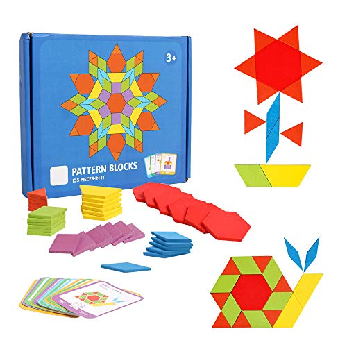 Hoonew 155 Pcs Wooden Pattern Blocks Set Geometric Shape Puzzle Classic Educational Montessori Tangram Toys for Kids with 24 Pcs Design Cards