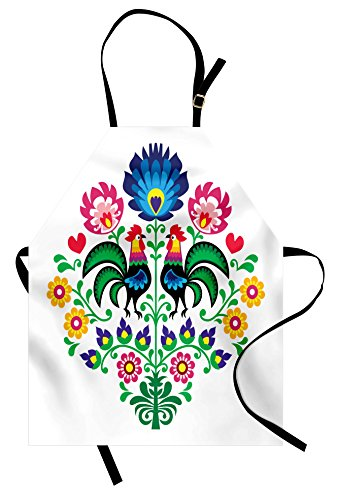 Lunarable Gallos Apron, Polish Embroidery with Roosters Garden Happy Fashion Celebration Spring Slav Poland, Unisex Kitchen Bib Apron with Adjustable Neck for Cooking Baking Gardening, - Polish Rooster