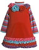 Bonnie Jean Baby Girl 3M-24M Red Rosete Neckline Ruffle Border Knit Jumper Dress