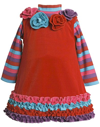 Bonnie Jean Baby Girl 3M-24M Red Rosete Neckline Ruffle Border Knit Jumper Dress