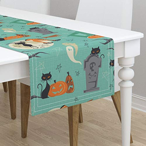 Table Runner - Retro Vintage Cats Halloween Fifties Trick Or Treat Witch by Juliesfabrics - Cotton Sateen Table Runner 16 x -