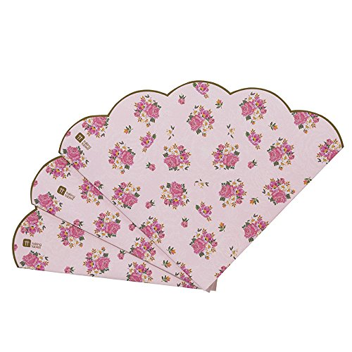 Talking Tables Truly Scrumptious Scalloped Floral Disposable Table Napkins for a Tea Party,Pink  (20 Pack)