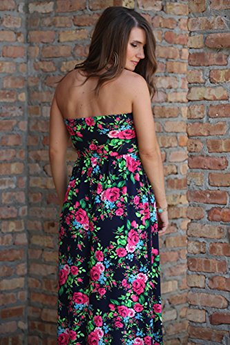 Lucky Love Maxi Dresses for Women, Plus Size Summer Beach Dress, Strapless, Vintage Floral by Lucky Love (Image #2)