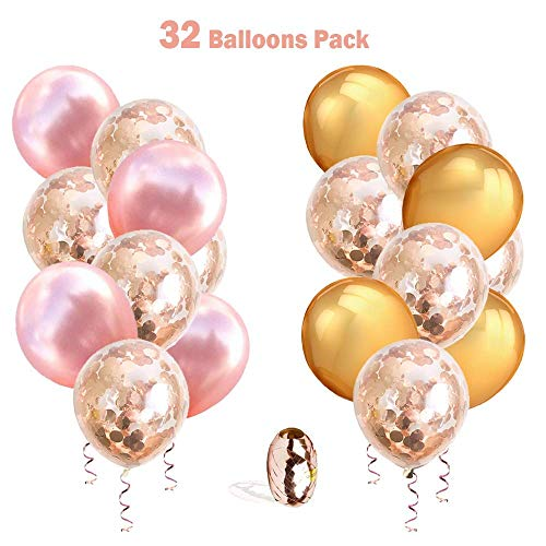 RoundDeal 32 Pack 12 inch Rose Gold Clear Confetti Balloons for Baby Girl Shower, Bridal Shower, Bachelorette Decorations, Happy Engagement Decorations, Birthday, Wedding & Anniversary Decor with Extr