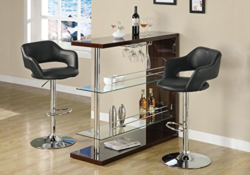 (Monarch Specialties Barstool - Black/Chrome Metal Hydraulic Lift)