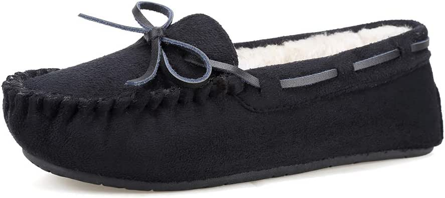 FANTURE Womens Slipper Micro Suede Faux Fur Lined Indoor & Outdoor Moccasins Slip On