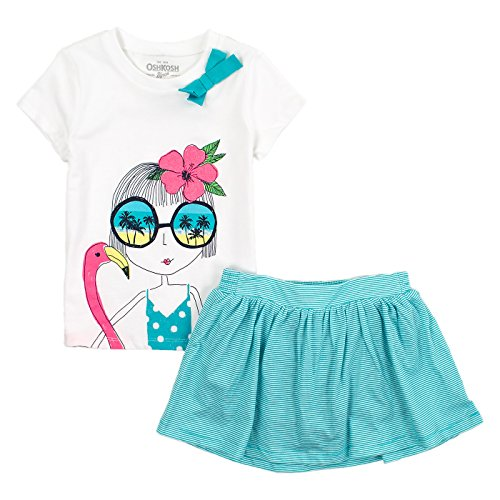 - OshKosh B'gosh Little Girls 2-Piece Skort Set 6 Green, Hot Pink, Navy, Turquoise, White & Yellow