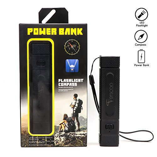 Usb Rechargeable Led Flashlight  With 3000Mah 18650 Battery Small Torch With Power Bank   Compass Function  Camping Outdoor Use