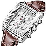 MEGIR Men's Analogue Military Chronograph Luminous Rectangular Quartz Watch with Durable Brown Leather Strap for Sport & Business Work ML2028GBN-7