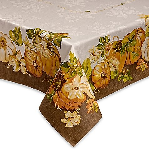 Pumpkin Delight Autumn Tablecloth, 60-by-144 Inches Rectangular
