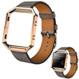 For Fitbit Blaze, Ikevan Fashion 2017 Luxury Genuine Leather Watch band Wrist strap Metal Frame For Fitbit Blaze Smart Watch (Gray)