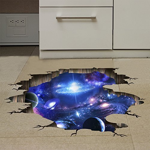 Amaonm Creative 3D Blue Cosmic Galaxy Wall Decals Removable PVC Magic 3D Milky Way Outer Space Planet Window Wall Stickers Murals Wallpaper Decor for Home Walls Floor Ceiling Boys Room Kids Bedroom by Amaonm (Image #4)
