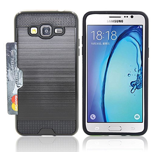 (Galaxy On5 Caes, Telegaming Brushed Hybrid Dual Layer Shockproof Hard Impact Case Protective Cover Card Holder Pocket + Screen Protector For Samsung Galaxy On5 Black)