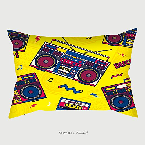 Custom Microfiber Pillowcase Protector Retro Pop Eighties Boombox Radio Seamless Pattern S Background Wallpaper 604986146 Pillow Case Covers Decorative (Patio Furniture 80s)