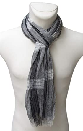 Générique Foulard, chèche écharpe pour homme gris dominant 175 x 50 ... 61c69c7a30f