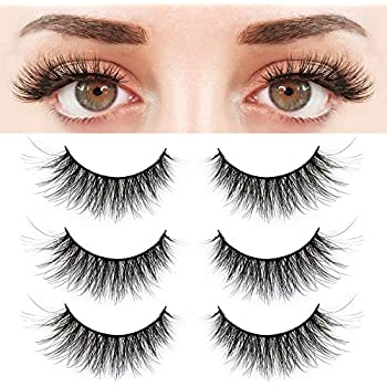70320e98ce1 BEPHOLAN 3 Pairs False Eyelashes Synthetic Fiber Material| 3D Mink Lashes|  Natural Round Look| Reusable| 100% Handmade & Cruelty-Free| XMZ24