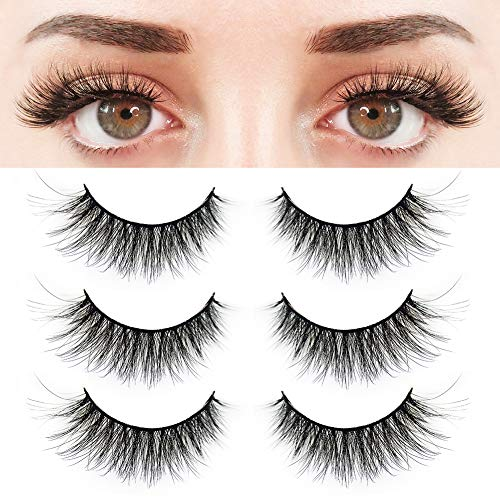 BEPHOLAN 3 Pairs False Eyelashes Synthetic Fiber Material| 3D Mink Lashes| Natural Round Look| Reusable| 100% Handmade & Cruelty-Free| XMZ24