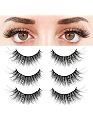 787be6c5248 BEPHOLAN 3 Pairs False Eyelashes Synthetic Fiber Material| 3D Mink Lashes|  Natural Round Look