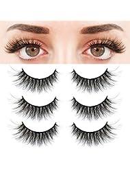 BEPHOLAN 3 Pairs False Eyelashes Synthetic Fiber Material| 3D Mink Lashes| Natural Round Look| Reusable| 100% Handmade & Cruelty-Free| XMZ24