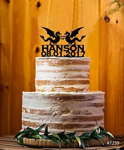 Dragon Cake Topper, Mr. & Mrs. Last Name Cake Topper, Custom Cake Topper, Wedding Cake Topper, Custom Party Decor AT237