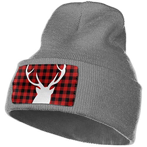 Black and Red Plaid Moose Buffalo Unisex Slouch Beanie Hats - Thick, Warm & Stylish Winter Hats Deep Heather