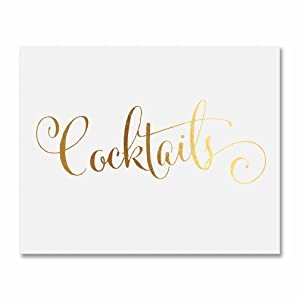 Cocktails Gold Foil Decor Print Bar Cart Sign Wedding Signage Modern Metallic Art Poster 5 inches x 7inches