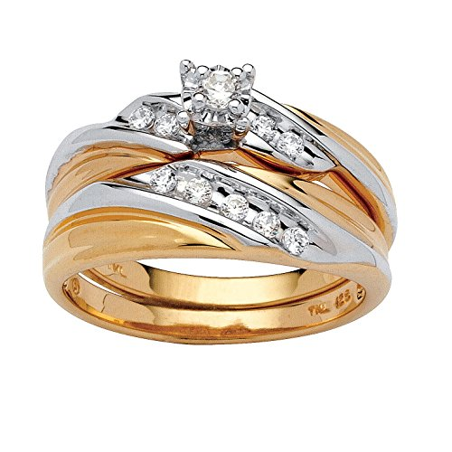 (White Cubic Zirconia Two-Tone 18k Gold over .925 Sterling Silver 2-Piece Bridal Ring Set Size 8)