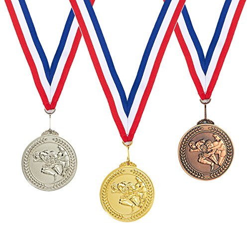 Juvale 3-Piece Award Medals Set - Metal Olympic Style Running Gold, Silver, Bronze Medals for Sports, Games, Competitions, Party Favors, 2.5 Inches in Diameter with 32-Inch Ribbon ()