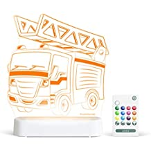 Aloka Fire Truck Starlight Multi-Colored LED Light with Remote Control, Multi-Color Changing, 8 inch