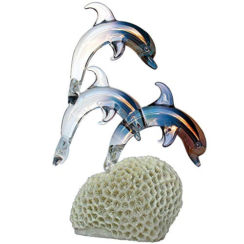Prochaska Gallery Hand Blown Glass Dolphins Figurine on Coral