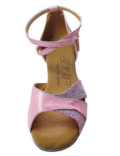 Personnalisable argent rose Plat Shangyi Chaussures Bal Scintillantes paillettes Talon Non De Similicuir Danse Latine Silver salle qwwYft