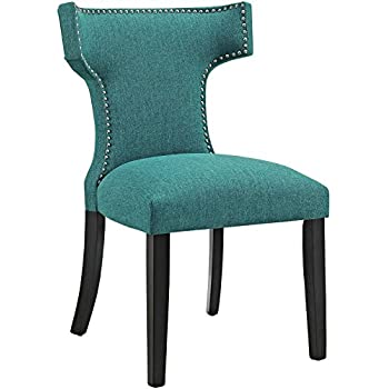 Modway Curve Mid Century Modern Upholstered Fabric Dining Chair With  Nailhead Trim In Teal