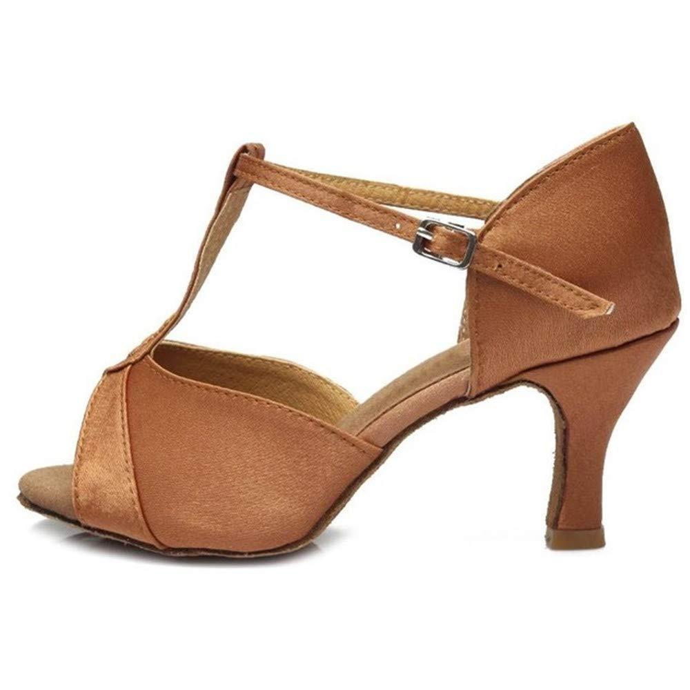 ZHIZHEN Girls Ballroom Latin Tango Dance Shoes High Heels Dance Shoes Brown 36 (7 cm) by ZHIZHEN