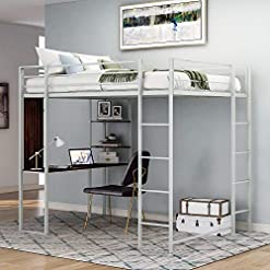 Bedroom Twin-Size Loft Bed Metal Frame with Desk and Ladder, Platform Loft Bed for Kids, No Box Spring Needed (Twin Silver) bunk beds